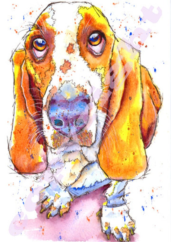 BASSET Hound PRINT of Original Watercolour Watercolor DOG Picture Painting Dog Puppy Print Art by Josie P.