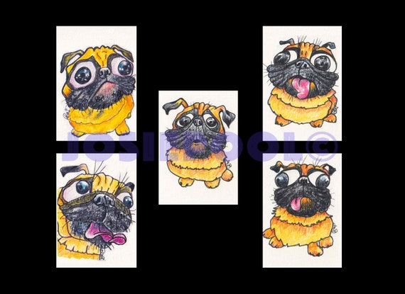 Set of 5 ACEO PUG Cartoon Prints. Ready Mounted. Art Gift, Animal Lover, Illustrations, Dog Portraits, Wall Hanging, Picture. Frame Option