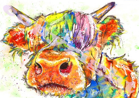 Highland COW PRINT Picture Scottish Painting Scotland Cattle Picture Art of Original Watercolour Painting Watercolor by Josie P.