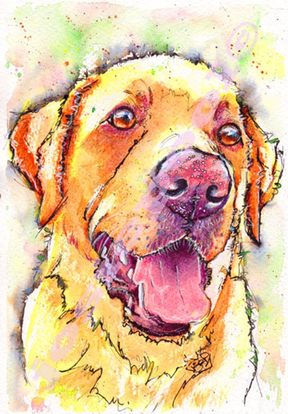 Yellow LABRADOR PRINT Picture Dog Painting Print of Original Watercolour Painting Watercolor Animal  Picture Art by Josie P.