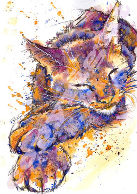CAT PRINT Picture Kitten Print of Original Watercolour Watercolor Painting Picture Art Cats Gift by Josie P.