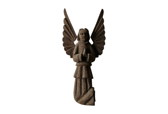 Old Hand Carved Wood Angel