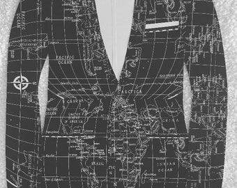 World map jacket etsy paper tuxedo jacket with shirt and bow tie black and white world map 26x 18 boys decor male nursery gumiabroncs Gallery
