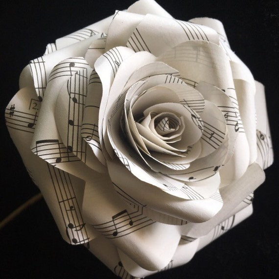 Large Musical Note Paper Flower Paper Roses Flower Bouquet Etsy