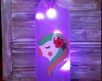 Unicorn Girls Bedroom Decor/Gift/Nightlight/Bottle/Glass/Rainbow/Purple/Personalized/Bedroom/Bathroom