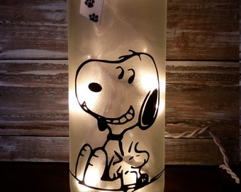 Snoopy Lighted Wine Bottle/Lamp/Nightlight/Gift/Peanuts/Charlie Brown