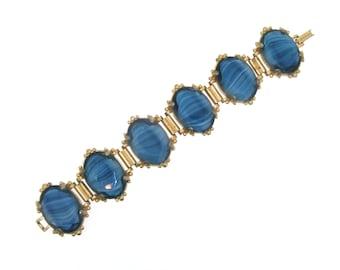 Vintage Blue Bracelet Chunky Agate Effect Glass