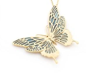 Large Butterfly Enamel Pendant by Bill Skinner