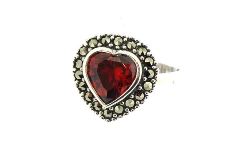Heart Ring Silver Marcasite Antique Style image 0