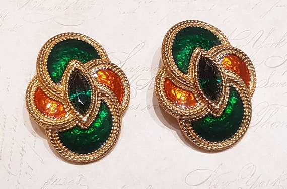 Butler and Wilson Earrings Clip On Gold Green Oran