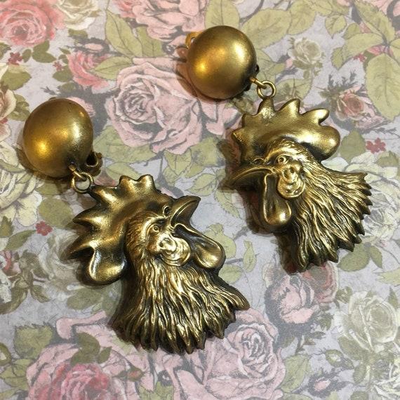 Cockerel Earrings Joseff of Hollywood