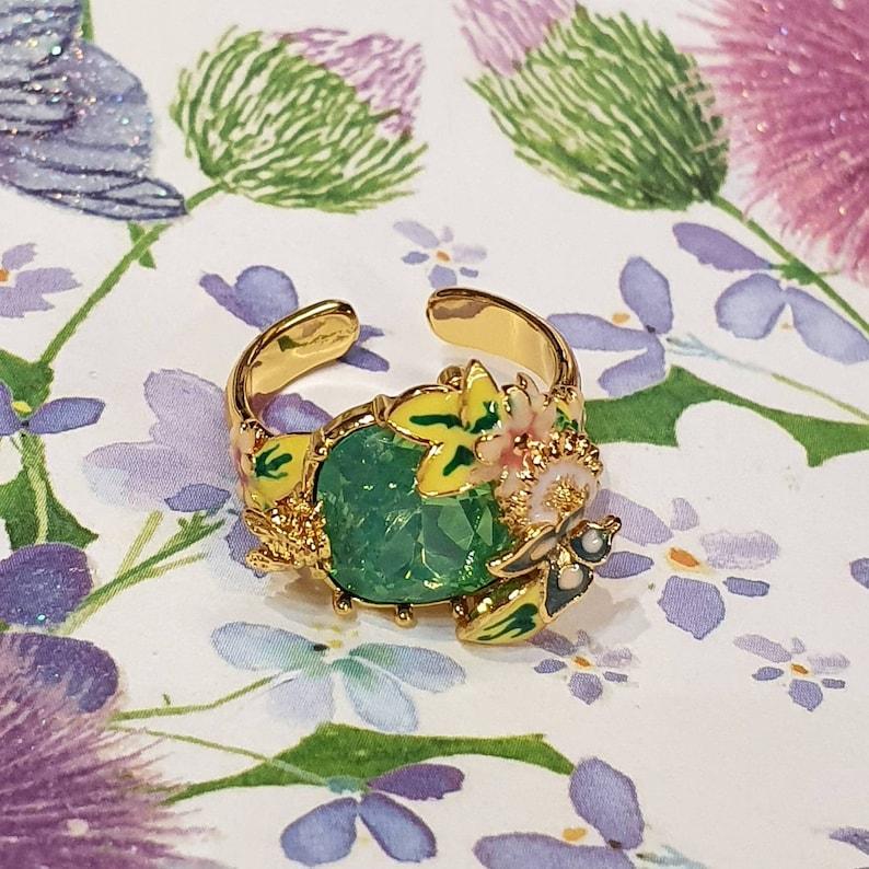 Green crystal Bee Flower Enamel Scenes of Nature Ring by Bill Skinner