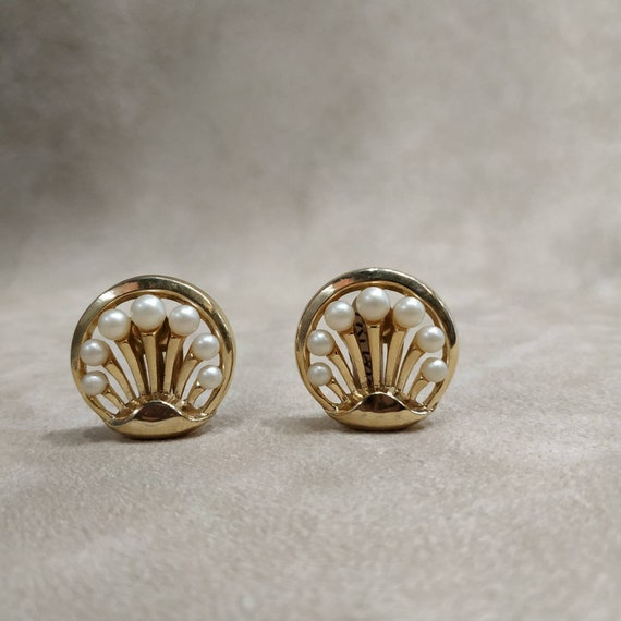 Trifari Vintage Pearl Earrings Clip On Floral Gold