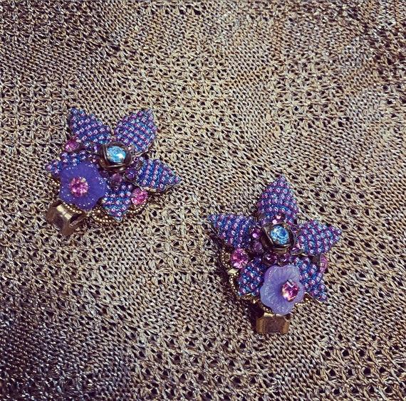 Stanley Hagler Earrings Lilac Purple Clip On
