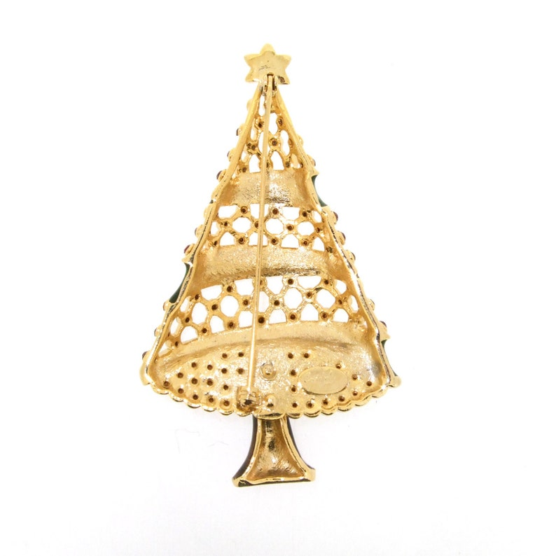 Golden Christmas Tree Brooch by Cristobal London