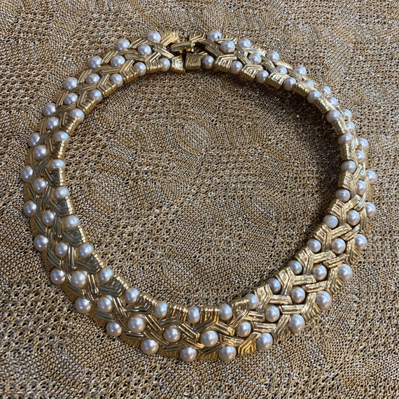 Pearl Gold Choker Collar Necklace
