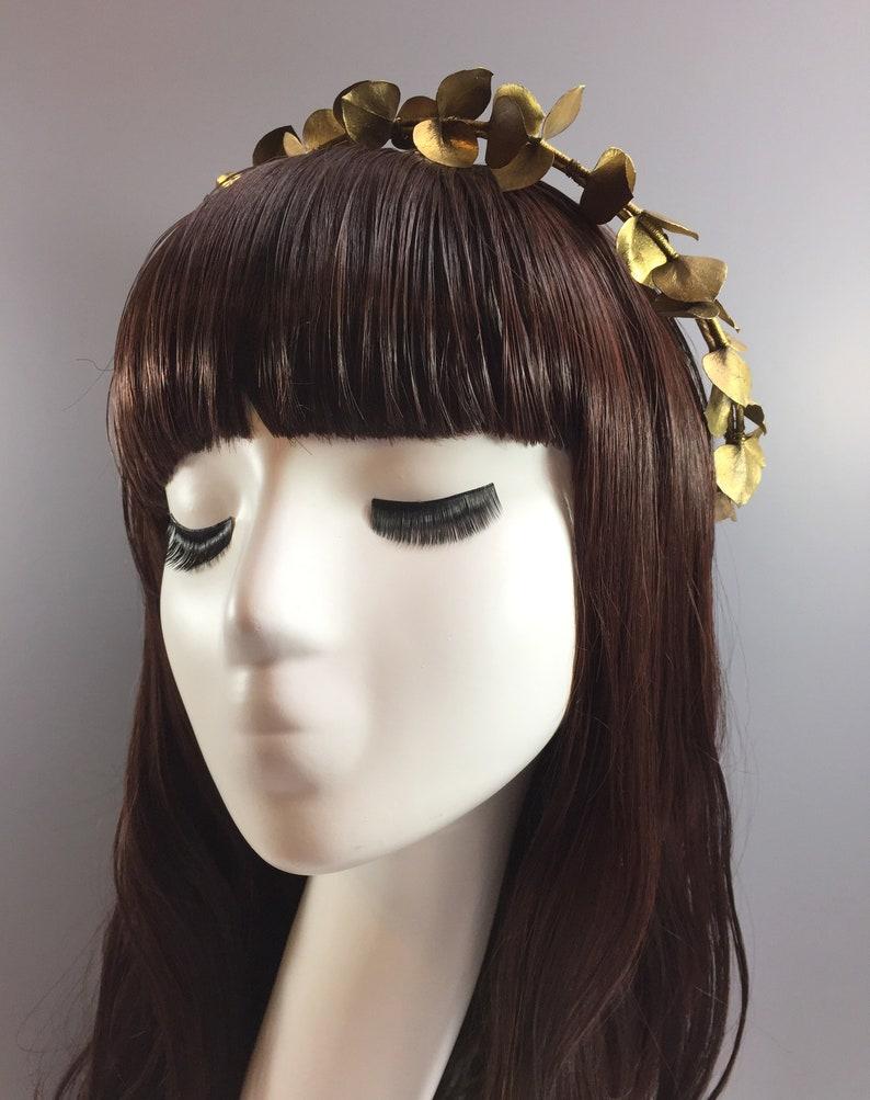 Gold Eucalyptus Vine Gold Hair Vine Gold Flower Crown Gold Eucalyptus Crown Wedding Headpiece Halo Gold Bridal Flower Crown