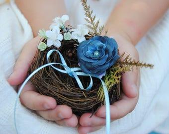 Blue Ring Holder - Wedding Ring Holder - Bird Nest Ring Holder - Ring Bearer Pillow Alternative - Something Blue - Wedding Jewelry Holder