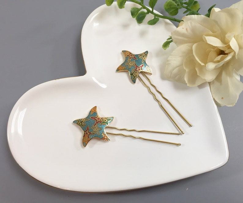 Gold Starfish Hair Pins Starfish Bobby Pins Starfish Wedding Hair Pins Beach Wedding Starfish Bridal Hair Blue Starfish Hair Pins