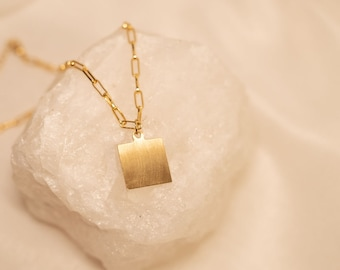 Ashton Necklace - Contemporary. Classic. Minimalist. Fashion. Women. Pendant. Square. Gold. Statement. Modern. Gifts for her. Jewelry.