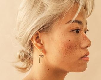 Thessaloniki earrings - Ear jacket. Gold. Bronze. Modern. Minimalist. Edgy. Fashion. Everyday wear. Feminine. Contemporary. Handmade. Women.