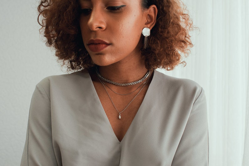 Layered Necklace Reims Necklace Mod Minimalist Edgy Women Jewelry. Dainty Silver Fashion Handmade Everyday Wear Casual