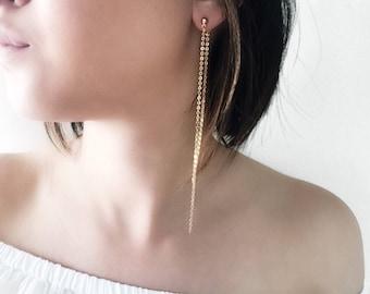 Rocker Chic Earrings. Dangling Earrings. Handmade. Earrings. Silver. Gold. Long Earrings. Minimalist. Mod. Women. Fashion.  Gifts for her.