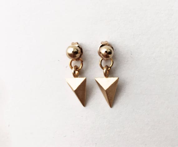 Black triangles Modern ear jacket Dainty A Girl/'s Best Friend Earrings Gifts for her. Ear Jackets Everyday wear Minimalist Gold