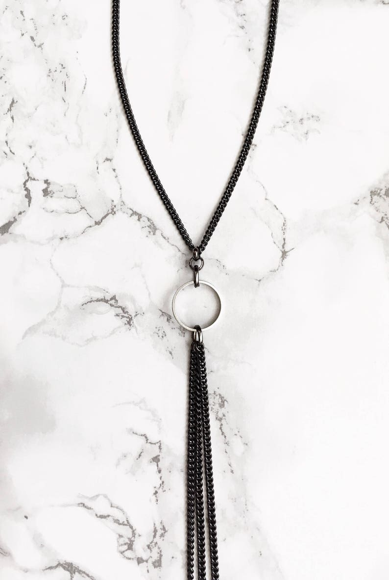 Mod Handmade Silver Gifts for her. Minimalist Jewelry Edgy Lariat Y necklace Gunmetal Bolo necklace Hydra Necklace