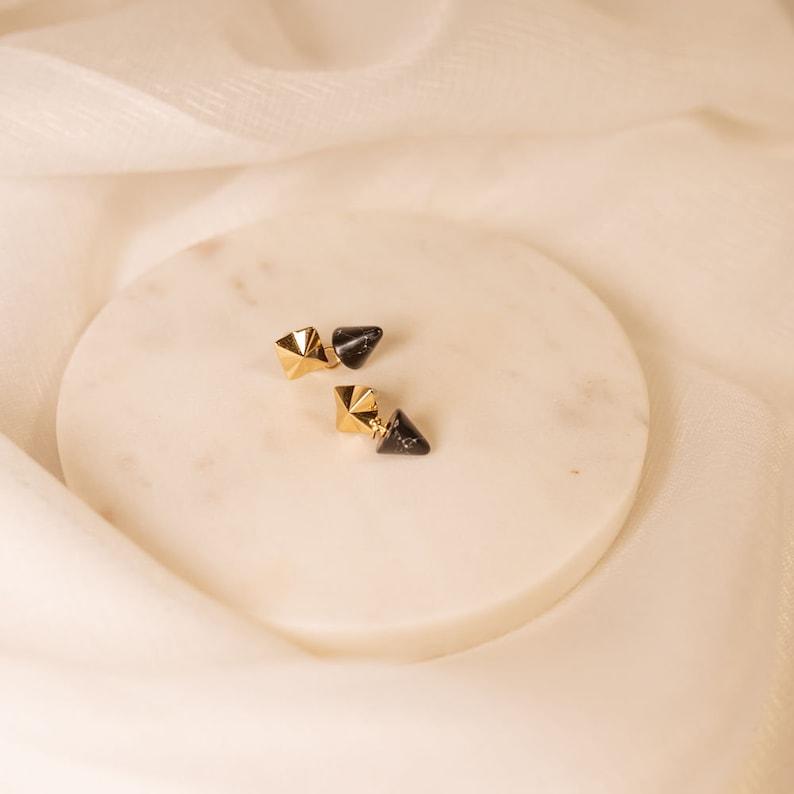 Minimalistic White Classic Women Black Gold plated Stud Marble Fashion Handmade. London Earrings Dangling earrings Spike