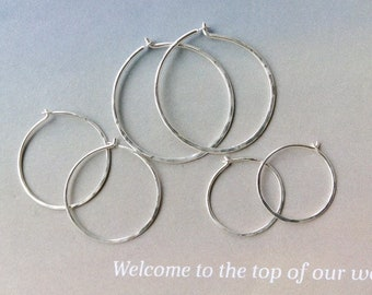 Textured Hoops Patina Hoop Earrings Small Sterling Silver Hoops