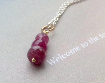 Trio Ruby pendant, Ruby Necklace, July Birthstone Necklace, Birthstone Pendant, sterling silver, gold filled, natural gemstone, Gift for Mom