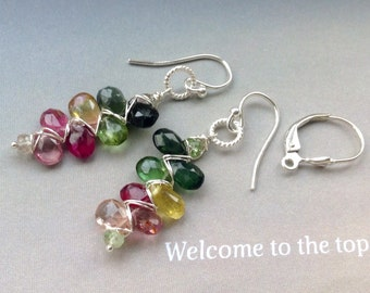 Watermelon Tourmaline Earrings, October birthstone, Birthstone Earrings, ear wires,leverbacks,sterling silver, gold filled,gift for her
