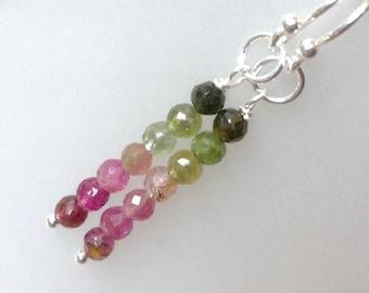 Stacked Tourmaline Earrings, October birthstone, Birthstone Earrings, Watermelon tourmaline, sterling silver, natural gemstone earrings