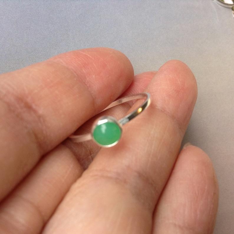 Chrysoprase Stacking Ring May Birthday Gift Gold Filled Chrysoprase Ring Bezel Set Sterling Silver May Birthstone Ring Green Jade