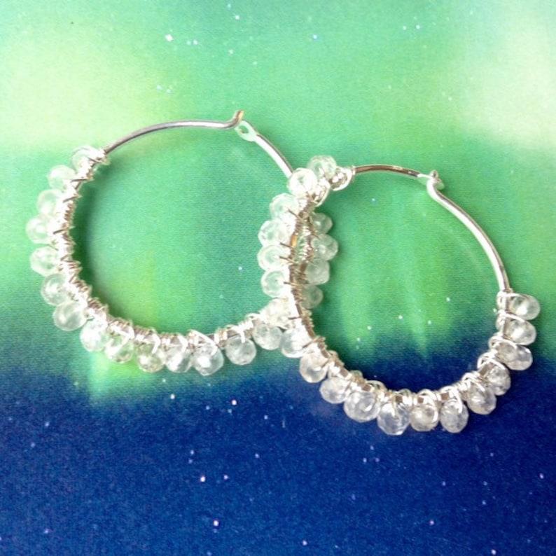 7ace41b41dbf0 Rainbow Moonstone Hoop Earrings, Sterling Silver Hoop Earrings, Moonstone  Earrings, Natural Gemstones, 1 1/4 inch Hoops, Minimalist Hoops