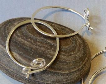 Silver Handmade Hoop Earrings, 3/4 inch Sterling Silver Hoop Earrings, Everyday Hoop Earrings, Minimalist Earrings