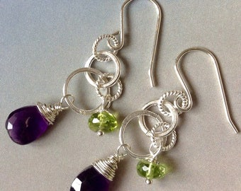 Amethyst Earrings, Peridot Earrings,Birthstone Earrings, Sterling Silver Earrings, Genuine Gemstones,February Birthstone Earrings,August