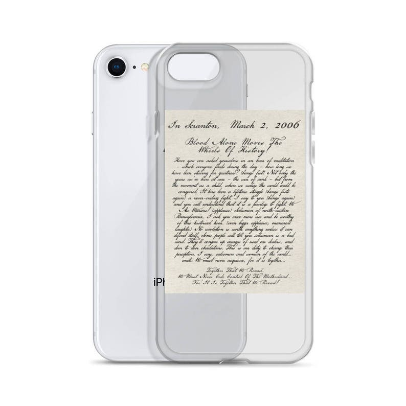 Dwight's Speech iPhone Case The Office TV Show Dwight Schrute Blood Alone  Moves the Wheels of History