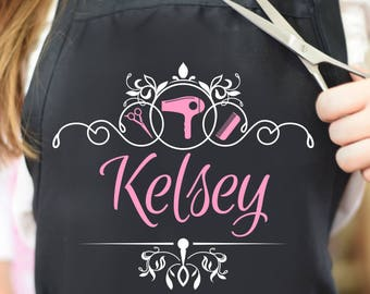 2b488270 hair stylist apron, gift for hairdresser, beauty salon, personalized  hairstylist apron, cosmetologist, custom barber apron