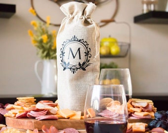 Wine Bottle Bag - Personalized Wine Gift Bag, Housewarming Gifts or Hostess Gift, Thank You Closing New Home