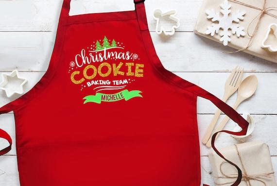 Head Cookie Baker Apron Christmas Cookie Baking Party Cookie Bake Apron Christmas Apron