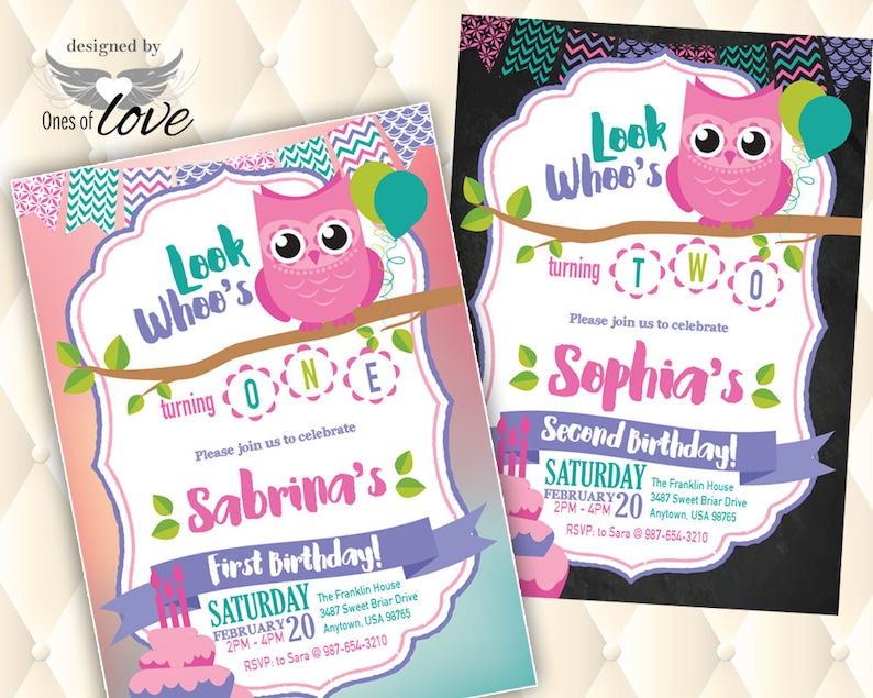 Owl Theme Birthday Invitation Printed Printable