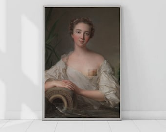 Altered Art Portrait Downloadable Prints - Digital Art Oil Painting   Censored 4:5 ratio (24x30in)