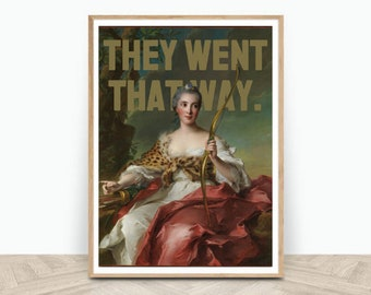 Altered Art Portrait Downloadable Prints - Digital Art Oil Painting   They Went That Way - 2:3 Ratio (16x24in)