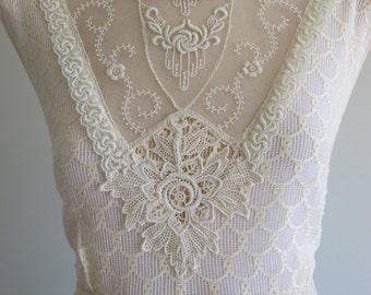 OOAK Bohemian Art Deco 'Nora' Original 1930s Vintage Lace Antique Wedding Dress