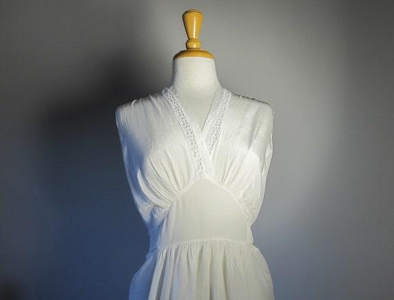 Art Deco 1950s Lingerie Slip Dress Lace Silk White