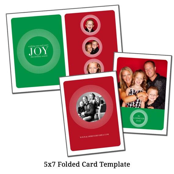 5x7 Folded Christmas Card Template Holiday Card