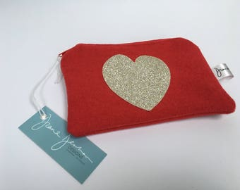 Red with Sparkly Gold Heart Coin Purse