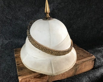 91dfc69735d08 Victorian spiked pith helmet w brass ring chinstrap